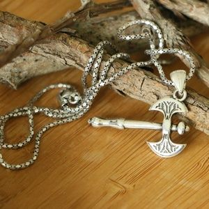 Sterling Silver Decorated Axe Necklace